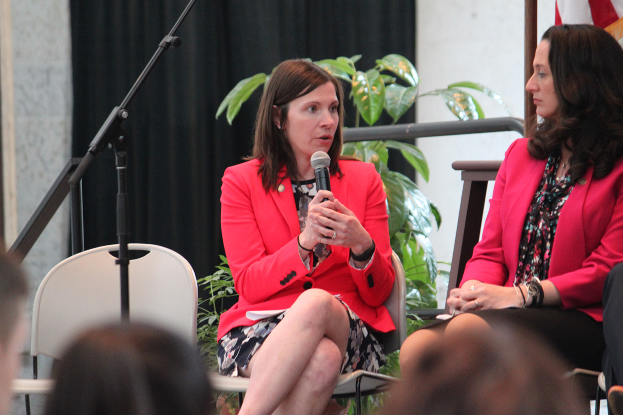 "Rep. Boggs with the Ohio House Democratic Women's Caucus, speaking at ""Real Talk"" public forum with Gloria Steinem"